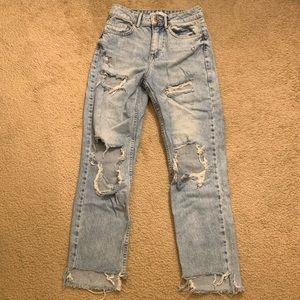 Zara Basic Z1975 Denim Light Wash Destroyed Jeans